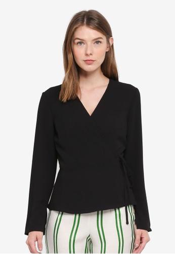 OVS black Long Sleeve Wrap Top 9996AAAC2EB06DGS_1