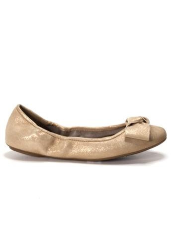 Shu Talk 金色 AMAZTEP 全新貼腳柔軟蝴蝶結真皮芭蕾舞鞋 DB45ASH3C4CD9CGS_1