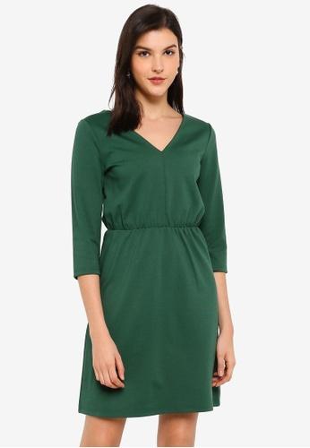 ICHI green Kate Half Sleeve Flare Dress 30C5DAA6E1B9E3GS_1