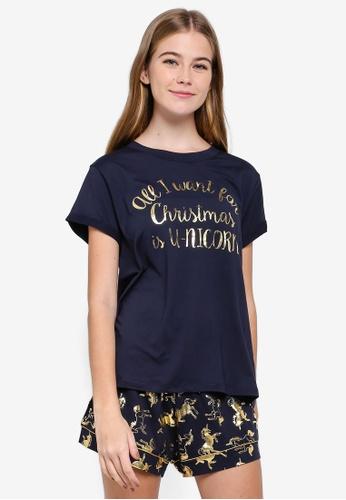 Chelsea Peers blue and navy Christmas Unicorn Pyjama Set C3791AA7F26A6EGS_1