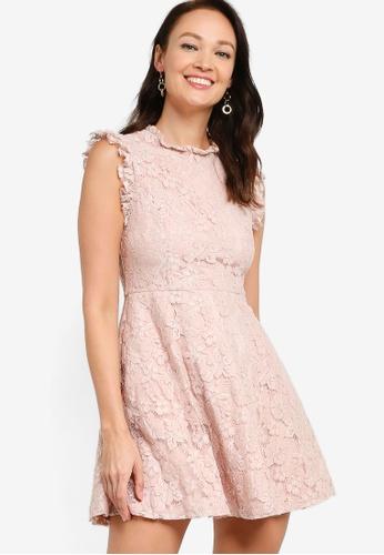 ZALORA OCCASION pink Lace Frill Detail Dress AB571AA586D1AFGS_1