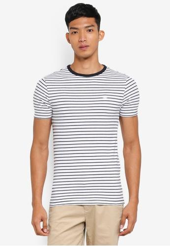 River Island white Short Sleeve Muscle Pique Stripe T-Shirt 2970CAAFB156B7GS_1