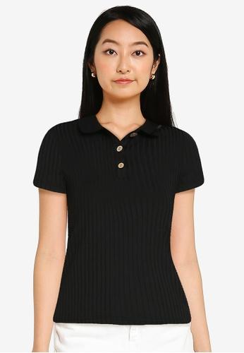 ZALORA BASICS black Rib Polo Shirt B0BFCAA4FC49EDGS_1