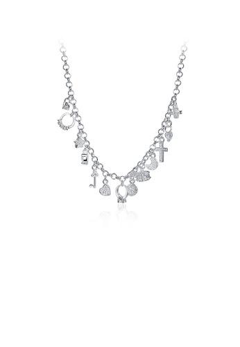 Glamorousky silver Fashion Cross Necklace 945A7AC059F4ABGS_1