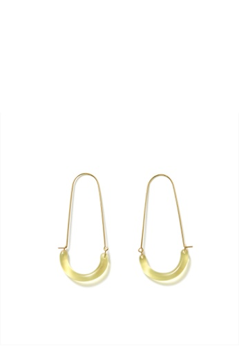 MONDAY EDITION yellow and gold U Shape Glass Earrings D0C80ACC29BEB4GS_1
