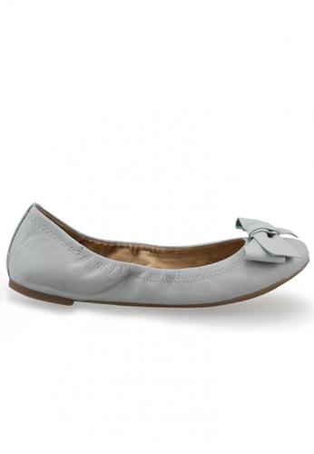 Shu Talk grey Nappa Round Toe Ballet Flats With Bow SH617SH2USD0HK_1