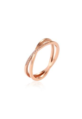 CELOVIS gold CELOVIS - Reva Entwined Single Row Zirconia Ring in Rose Gold 25F86AC31A726EGS_1