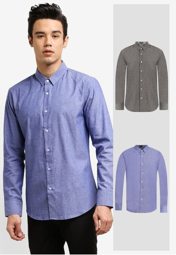 ZALORA black and blue 2 Pack Slim Fit Chambray Long Sleeve Shirt ZA919AA72TILSG_1
