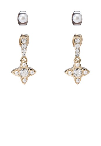 Dual esprit台灣網頁Pearl Diamante Earrings, 飾品配件, 飾品配件