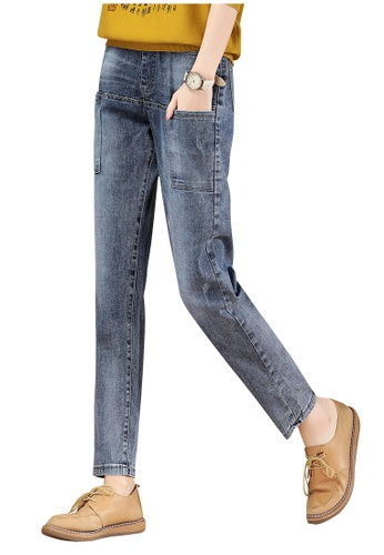 A-IN GIRLS blue Elasticated Waist Panel Jeans 10E90AA57AEA1AGS_1
