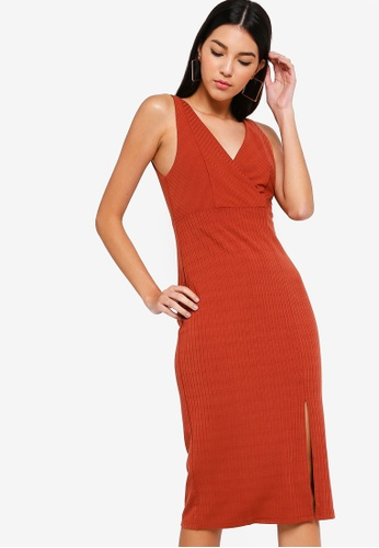 ZALORA orange Overlap Rib Bodycon Dress 15312AADF327DFGS_1