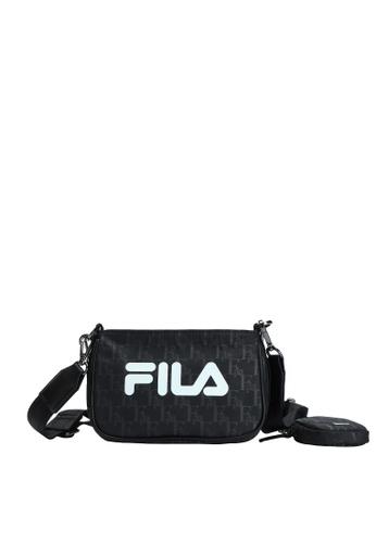 FILA black Athletics Women's All Over FILA Logo Crossbody Bag B29E7ACD7CF951GS_1