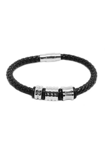 Elfi black Elfi Stainless Steel Magnetic Clasp Leather Bracelet LB07 (Black) 8E114AC39D6983GS_1