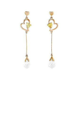 Glamorousky yellow Charming Heart Earrings with Silver and Yellow Austrian Element Crystals 591E3AC3FFD4B3GS_1