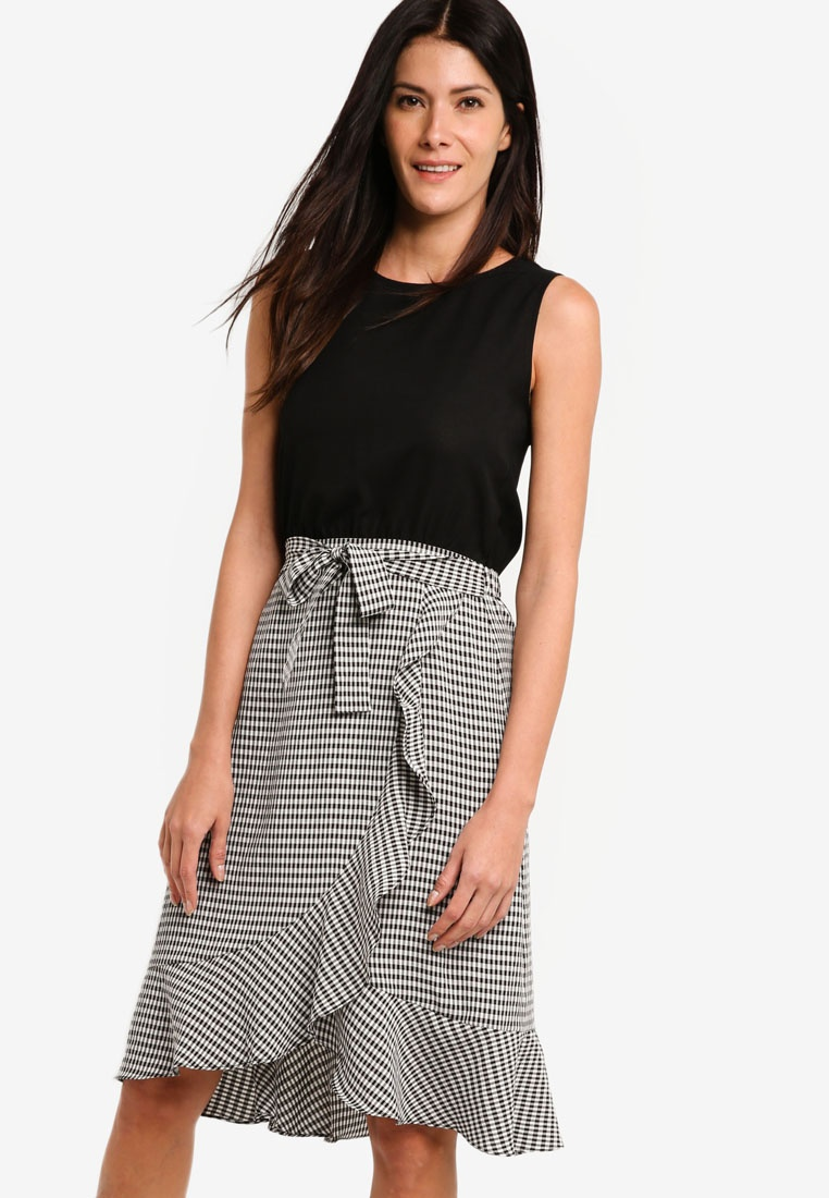 8862700342320 Dress Blouson Wrap With ZALORA Checks Black Skirt Black qpCprd in ...