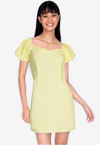ZALORA BASICS 黃色 Puff Sleeve Mini Dress 236ADAAE74D6EFGS_1