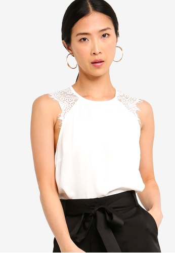 ZALORA BASICS white Basic Lace Sleeves Top F99F0AAB5B848CGS_1