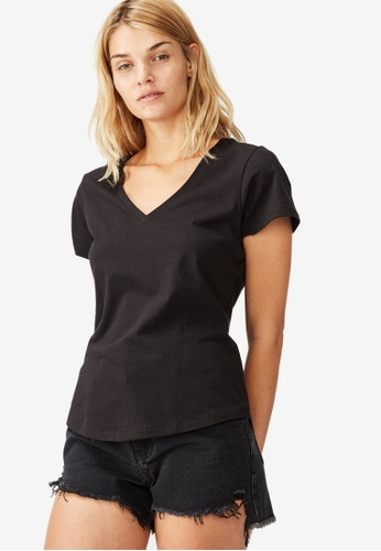 Cotton On black The One Fitted V Tee 711B6AA57B4A8BGS_1