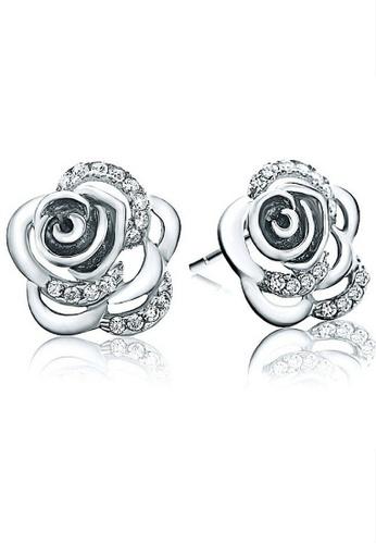 Vivere Rosse silver Camelia Flower Stud Earrings VI014AC52VCPMY_1