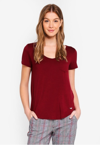 Hollister red Easy Tee 16C50AA9D172FAGS_1
