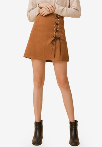 Eyescream brown Lace Up Mini Skirt EB57FAADE5E3AEGS_1