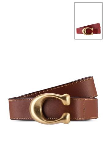 Coach brown Sculpted C Reversible Belt (cv) 67C5EAC92F47B1GS_1