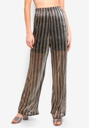 05aacb556475f Buy TOPSHOP Sheer Glitter Wide Leg Trousers Online   ZALORA Malaysia