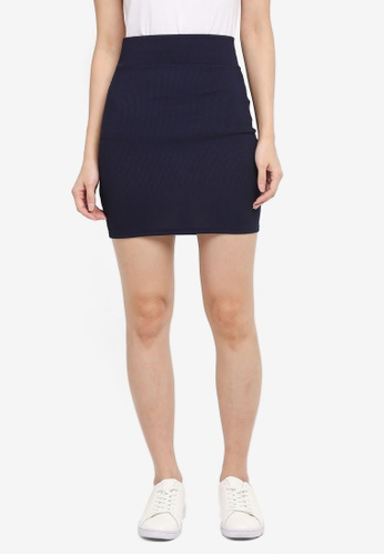 MISSGUIDED navy Rib Lace Up Waist Mini Skirt 68F2EAAAB5DBB9GS_1