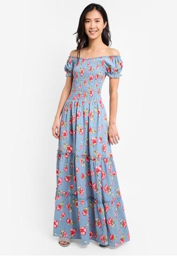 ZALORA blue Off Shoulder Smocked Maxi Dress 51C36AA669AB2EGS_1