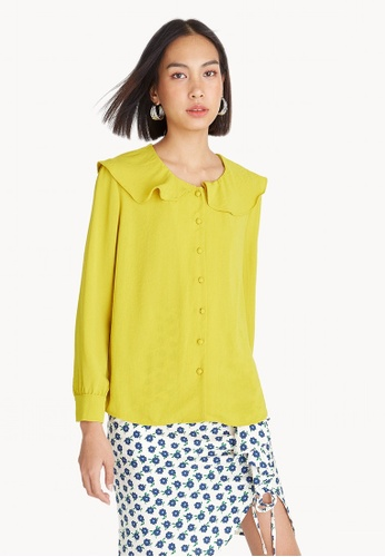 Pomelo yellow Frill Collar Button Up Blouse - Yellow 3FAA4AA9F653C4GS_1