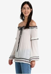 River Island white Off Shoulder Embroidered Top RI009AA01HDQMY_1