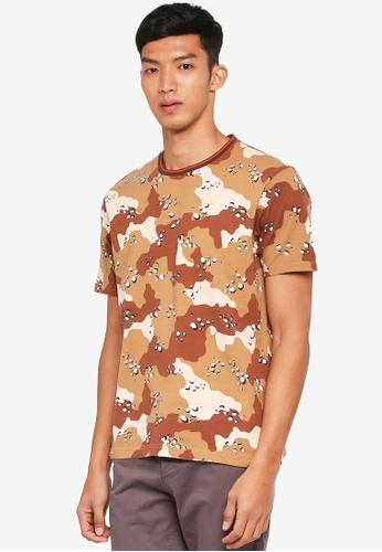 Topman beige Sand Camouflage T-Shirt 3ADFDAAFC70729GS_1