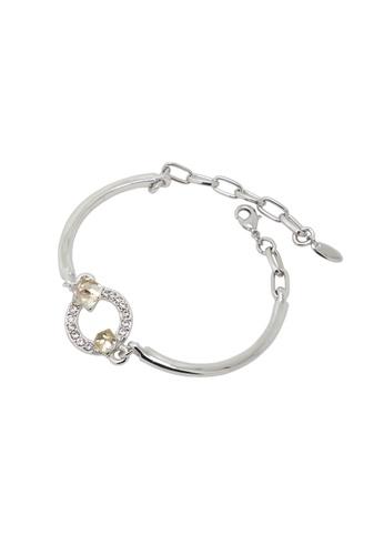 Jaysa Collection silver Palladium Curvy Bracelet with Summer Tan Crystal Cuboids JA875AC0FXPKSG_1