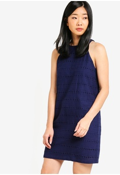 ef3575d6d50a Something Borrowed navy Cotton Eyelet Cut In Shift Dress B14D6AA1D9CF71GS 1