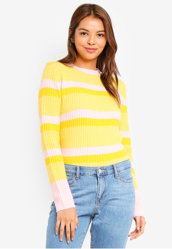 Pieces yellow Belka Long Sleeve Jumper 74449AAB9B8E39GS_1