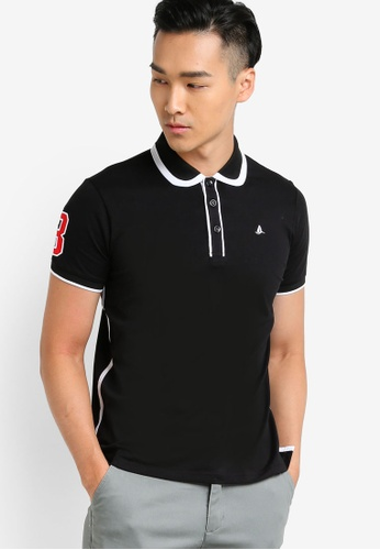 Fidelio black Patched Lining Collar and Cuff Polo Shirt FI826AA22NSZMY_1