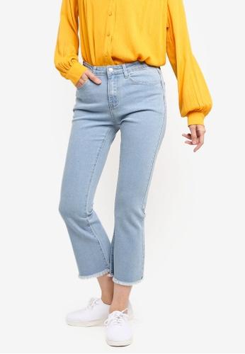 ZALORA BASICS blue Basic Cropped Bootcut Jeans EC2A5AA97723B9GS_1