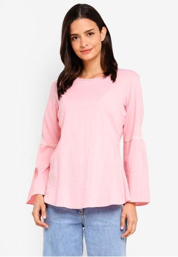Aqeela Muslimah Wear pink Lace Bell Sleeve Top E42CFAAB23DAFAGS_1
