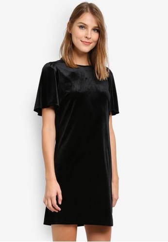 Dorothy Perkins black Velvet Shimmer Shift Dress DO816AA0SD4IMY_1