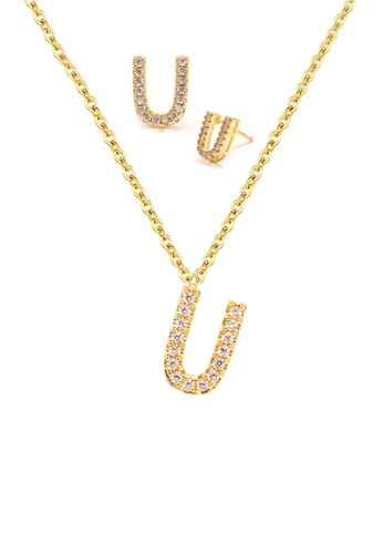 """Atrireal gold ÁTRIREAL - Initial """"U"""" Necklace + Earrings Jewellery Set in Gold DA416ACB7CB507GS_1"""