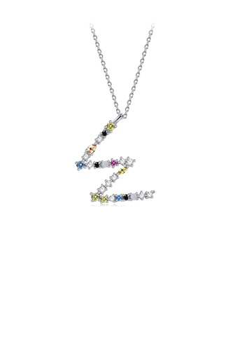 Glamorousky silver 925 Sterling Silver Fashion Simple Color English Alphabet W Pendant with Cubic Zirconia and Necklace 3443FACE54DCADGS_1