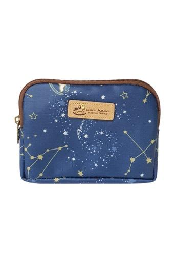 Genuine blue leather coin purse,pencil case,pouch,makeup case