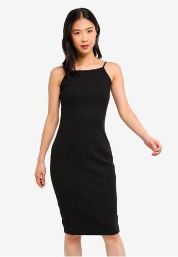 ZALORA BASICS black Basic Rib Dress With V-Back 16A87AA7052E6CGS_1