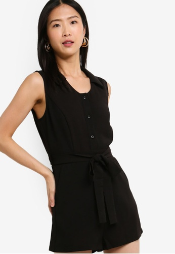 ZALORA BASICS black Basic Wrap Front Playsuit A623EAA7888983GS_1