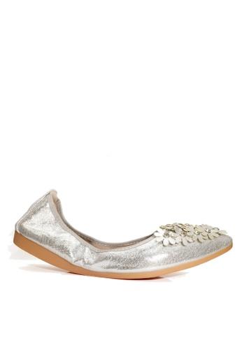 Twenty Eight Shoes 銀色 舒適人造鑽石花閃光豆豆鞋 VL6282 EB79FSH7F33E55GS_1