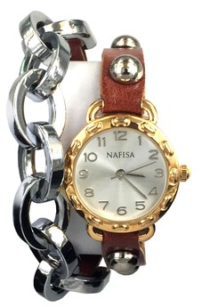 Nafisa Women Round Dial Metal Chain/Leather with Rivet Double Wrap Strap Wrist Watch