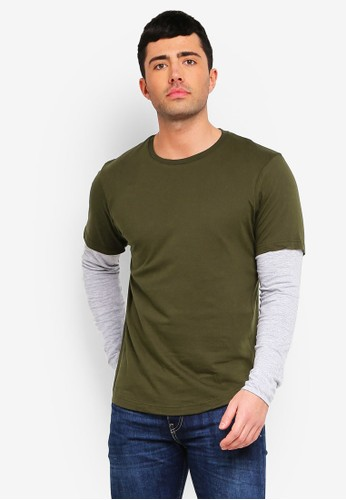 Brave Soul green and grey Binate Dipped Hem Tee 56267AA6FFAFD3GS_1