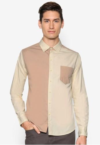 拼色長袖zalora 評價襯衫, 服飾, 襯衫
