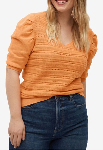 Violeta by MANGO orange Plus Size Puffed Sleeves Sweater B6116AAF085D3AGS_1