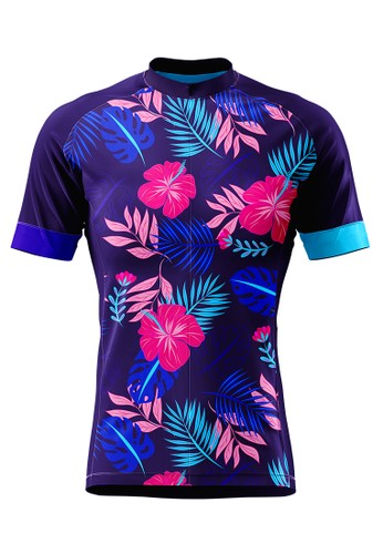 Trijee pink and purple and multi and navy Trijee Lyne Unisex Cycling Jersey - Purple E63C9AA2507A60GS_1
